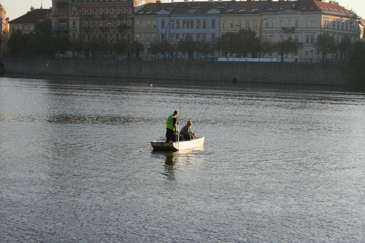 Lonely boat on Vltava river